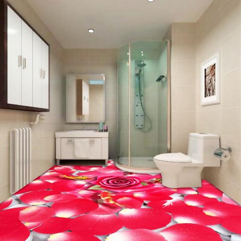 Free Shipping Freshly petal 3D floor anti-skidding lifelike moisture-proof shopping mall wallpaper mural<br><br>Aliexpress