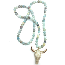 MOODPC Free Shipping Frosted Amazonite Stones Bohemian Tribal Jewelry Horn Pendant Necklace(China)