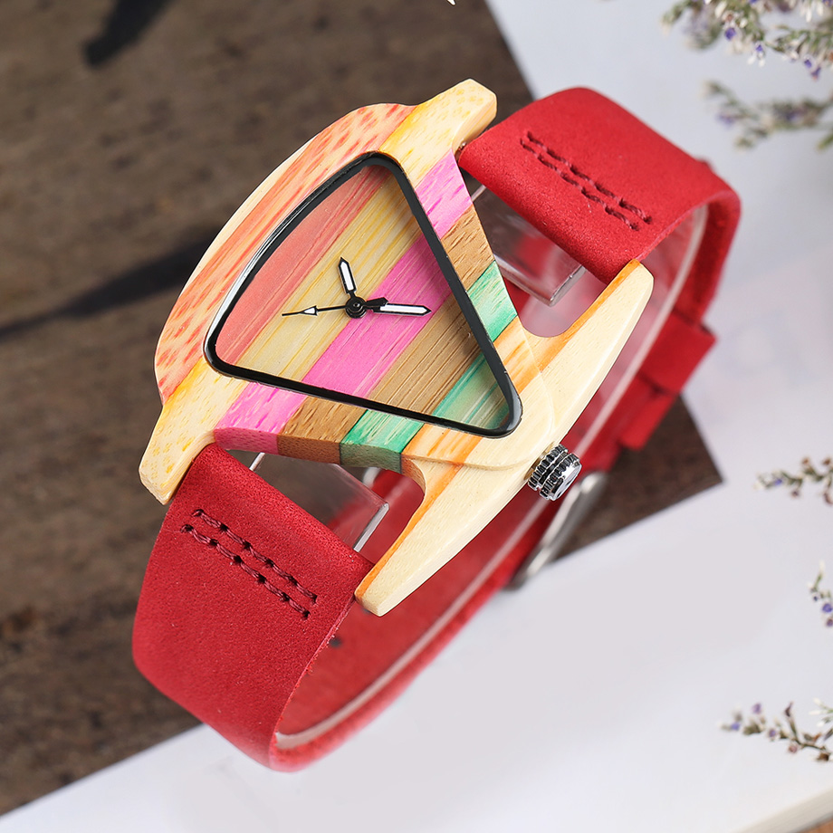 Creative Women Wood Watches Unique Colorful Wooden Triangle Hollow Quartz Wristwatch Ladies Elegant Fashion Genuine Leather Hour (21)