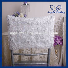 CH028B New cheap custom made fancy ivory chiavari wedding embroidery Rosette chiffin chair covers(China)