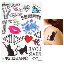 1 Piece Flower Arm Body Art Decal Tattoo Temporary Diamond Cat Lip Print Zipper Pattern Tattoo Sticker Waterproof Harajuku HB639(China)