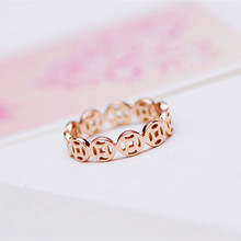 YUN RUO 2017 Rose Gold Color Cute Coin Tail Ring for Woman Girl Gift 316 L Stainless Steel Jewelry High Polish Prevent Allergy