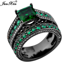 JUNXIN Size 6/7/8/9/10 Luxury Rings Set Black Gold Filled Green Zircon Stone Fashion Jewelry Ring For Women Men Promotion