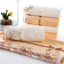 1pcs White and Yellow Lace Towel in Face Towels Rectangle Gym Sport Set Towel Hotel Cheap Bathroom Best Towels