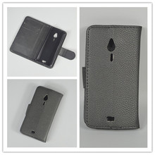 for Nokia 230 / 230 Dual SIM Lichi Texture Leather Case Pouch Flip case with 2 Card Holder and pouch slot