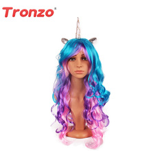 Tronzo 1Set Colorful Unicorn Wig 70CM PET Environmental Hair Unicorn Theme Party Decorations Happy Birthday Party Supplies(China)