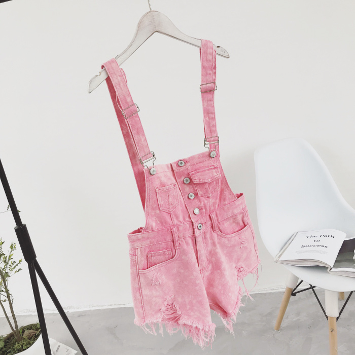 2018 new Korean college wind age denim strap shorts female wild thin students hole suspenders tide (11)