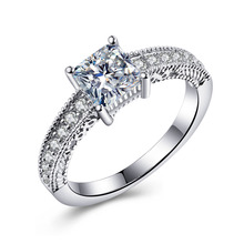 Classic silver plated jewelry 925mall lady princess cut Vintage engagement rings lovely lucky CZ zircon wedding bands for women