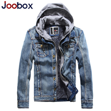 Mens Hooded Denim Jacket Brand Designer Jackets Winter Fleece Jeans Jacket Men Fake Two Pieces Slim Fit Coats Overcoat Coat Male