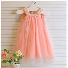 2017 Summer Dresses For Girls Kids Chiffon Girls Dress Cute Pearl Collar Mini Tulle Clothing Children Baby Kids Dress