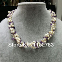Free shipping 46CM necklace three strand twist multy frash water pearl necklace natural purple crystal pure handworking made(China)
