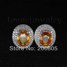 Hot Style!Vintage Solid 14Kt White Gold Stud Citrine Earrings,Real Diamond Citrine Earrings For Sale E0003(China)