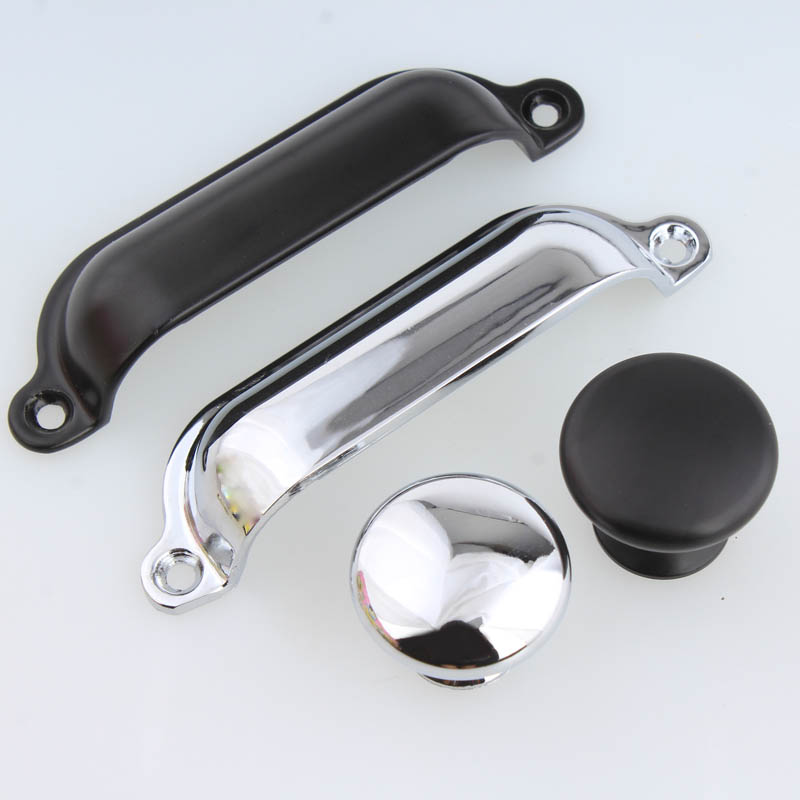 Modern simple fashion shiny silver shell furniture door handle 88mm unfold install black drawer cabinet pull knob cup pulls<br>