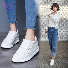 Platform Sneakers Women Cut-Out Lace-Up Round Toe Fashion Sport Casual Shoes 2017 Spring New White Black Thick Soled Shoes Woman