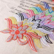 24cm x 11cm Large transfer heat transfer decals ironing clothes stickers affixed cloth embroidered sequin flower patch stickers