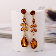 411    Chic  Elegant Luxury Sparkling Crystal Semi-precious Stone Piercing Drop Earrings  For Women Wedding Party Gift  E4430