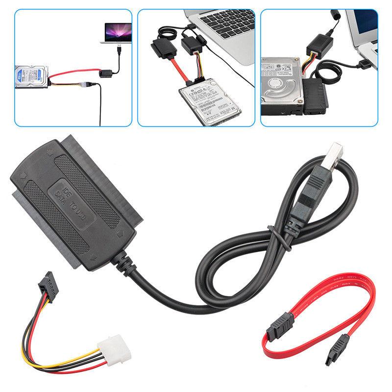 SATA PATA IDE Hard Drive Data Transfer AC Adapter Converter Cable USB Port PC