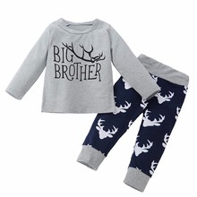 MUQGEW Baby Boy Clothes 2pcs Big Brother T-shirt +Trousers Outfits Clothing Set Suit Baby Clothes China Roupas Infantil QZ06(China)