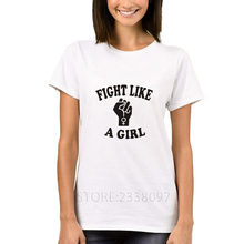 Fight Like A Girl Graphic Tee Shirt Femme 2017 Harajuku Women Summer Tops Short Sleeve Feminist T-Shirt Plus Size Camiseta Mujer