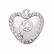 Skyrim 10pcs a lot crystal heart Washington Redskins logo pendants for Necklace and Bracelet Silver Charms for Jewelry Making(China)