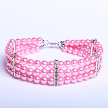 3 Row Dog Pet Pearls Necklace Collar Beling Accessories Charm Cat Puppy Jewelry 3 Colour(China)