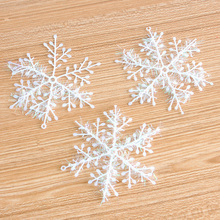 15Pcs/lot Christmas Snow Flakes White Snowflake Ornaments Holiday Christmas Tree Decortion 4 Size