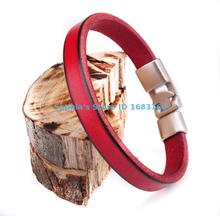 BL11 Red New Mens Single Wrap Slim Plain Leather Cuff Bracelet Wristband