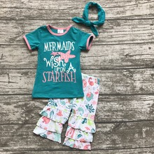 Summer baby girls clothes mermaid wish upon a starfish jade capris ocean world  boutique short kids sleeveless match accessories
