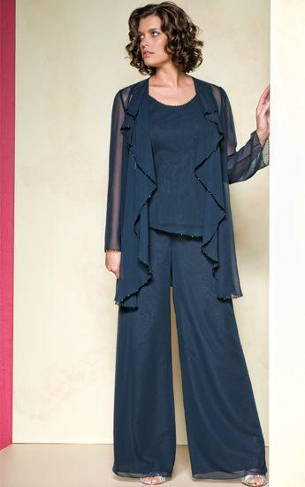 Chiffon Bead Edge Mother Of The Bride Pant Suits with Long Sleeve Jacket Custom Made Vestido De Madrinha Three Piece Pant Suits(China (Mainland))