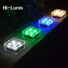 Hi-Lumix Glass Stone Ice Cube Solar led path light brick 4leds IP67 Waterproof In-ground Buried Lights for Garden Courtyard(China)