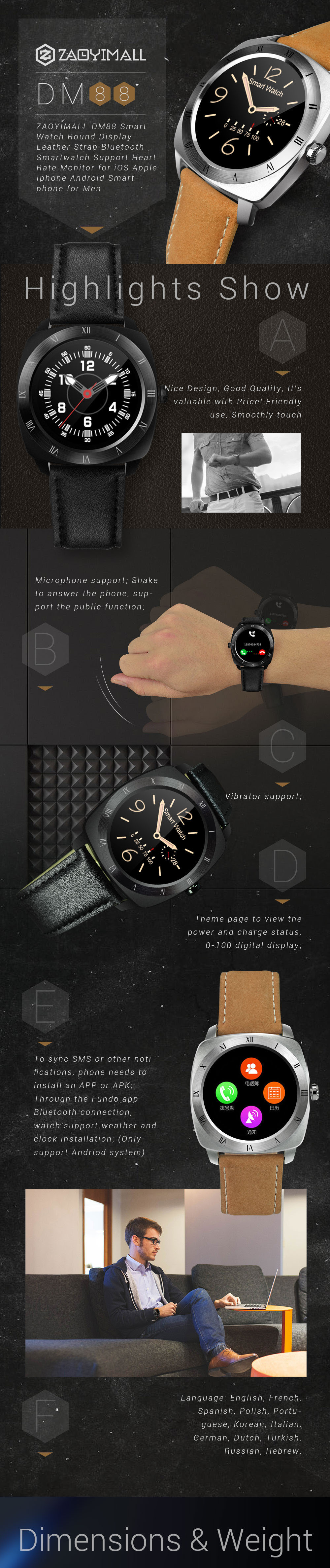 ZAOYI DM88 Smart Watch Round Display Bluetooth Smartwatch Support Heart Rate Monitor for iOS Apple Iphone Android Smartphone