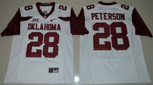 NIKE Men's Oklahoma Sooners Adrian Peterson 28 College Limited Ice Hockey Jerseys - White Size S M L XL 2XL 3XL(China)