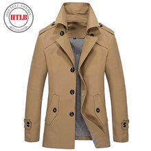 Brand classic Fashion Casual Business Men's Trench coat England England Single-breasted long pea coat trenchcoat Mens slim fit