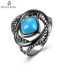 2017 Fashion Women Rings Gold With White Gold Black Gun Color Square Shape Blue Big Turquoises Party Rings For Women Jewelry