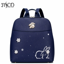 Brand Design Snow Bunny Embroidery Fashion PU Women Leather Ladies Backpack Shoulders School Travel Bags Student Daypack