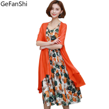 Fashion Cotton Linen Vintage Print 2 Pieces Sleeveless Dress And Cardigan Plus Size Women Casual Loose Summer Dress Vestidos 5XL