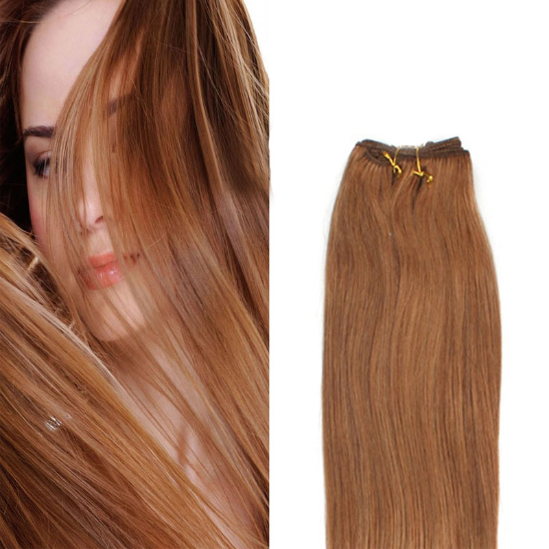 Virgin Hair Blonde Straight Human Hair Weft Wavy Bundles Dark Blonde #12 16 100G Brazilian Virgin Hair Weft Extensions Weaving<br><br>Aliexpress