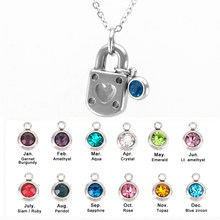 Simsimi Lock with birth stones charm Choker lucky stone necklace for women  female jewelry stainless steel necklaces friendgift c9d1eeac2ae0