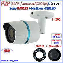 H.265 Hi3516D 3MP ip camera outdoor POE 2.0MP WDR camara ip 1080P IMX123 Sensor Security P2P SMD IR LED ONVIF 2.4, 3.6mm HD Lens