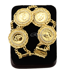 1pcs 29mm Big Women Men 22K Luxury Yellow Gold Filled Coin People Crystal Bracelet Wristband E415(China)