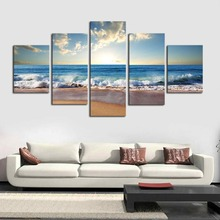 5 Piece canvas painting blue sea, blue sky painting Has framework or unframed Wall art pictures home decoration for living room(China)
