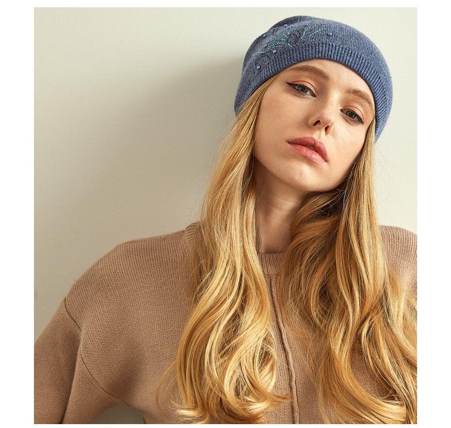 قبعات صوف للنساءبالوان متعددة 21