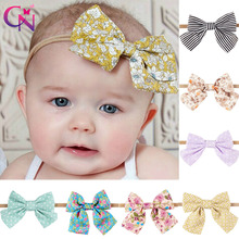 Printed Fabric Bows Nylon Headbands For Kids Girls Princess Boutique Elastic Hair Bows Hairbands Hair Accessories 10 Pieces/lot(China)