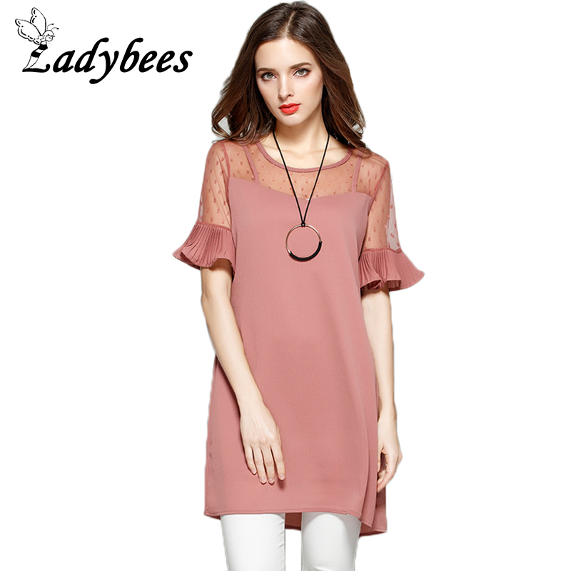 LADYBEES Summer 4XL Plus Size Dresses Chiffon Dot Mesh Pleated Lace Pink Dress Women Elegant Big XL- XXXXL Patchwork Shirt dress(China (Mainland))