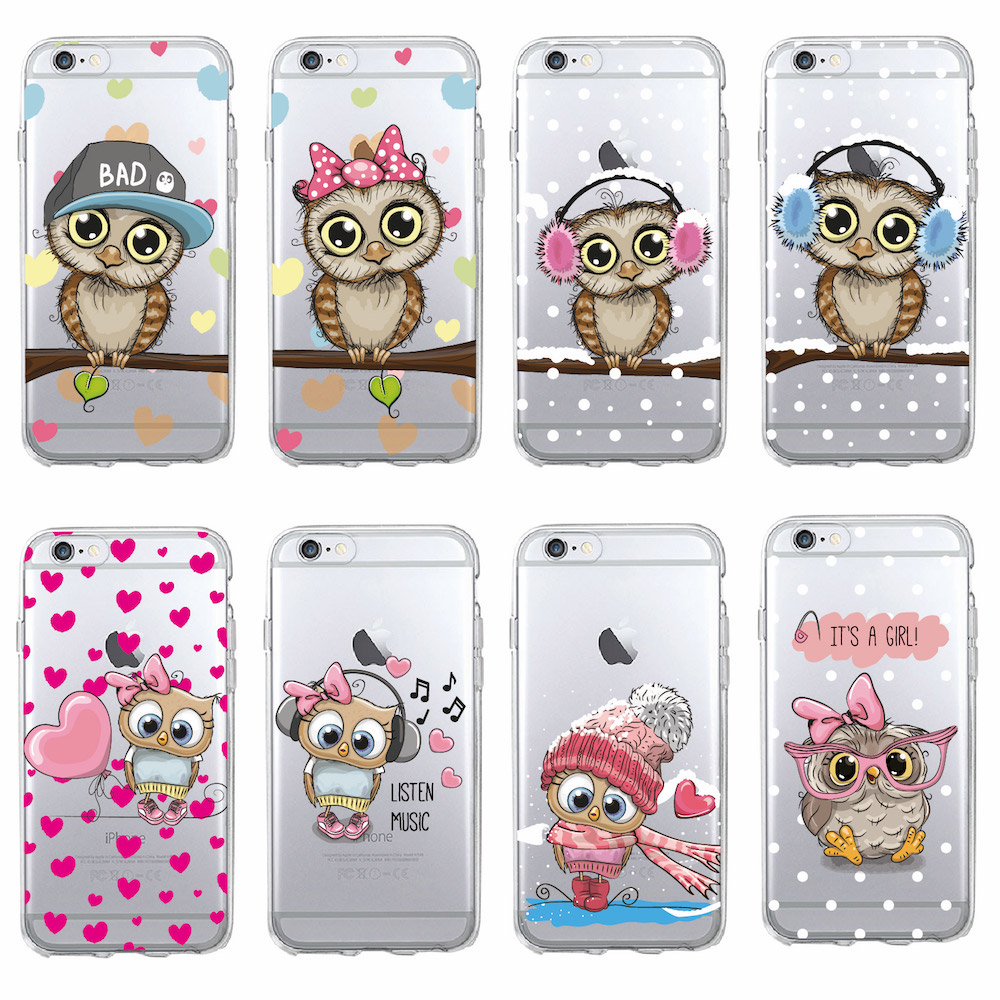 Cute Owl Hearts Lover Christmas Cartoon Cases For iPhone 7 7Plus 6 ...