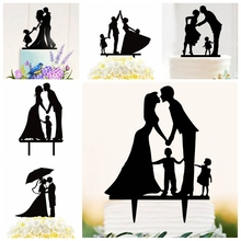 20pcs Happy Family Romantic Wedding Decoration Cake Topper Mr Mrs Acrylic Parents Kids Bride Groom Husband Wife birthday party