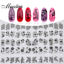 New 3D Black Flowers Nail Stickers Decals,108pcs/sheet Top Quality Metallic Mixed Designs Adhesive DIY Nail Art Decoration Tool