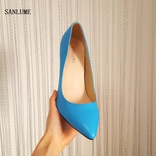 2017 New style summer Thin heel women fashion pumps sexy Blue Wedding party shoes  Rubber sole pointed toe  35-39