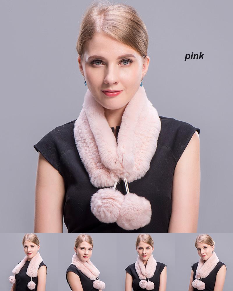rex rabbit short scarf pink 1