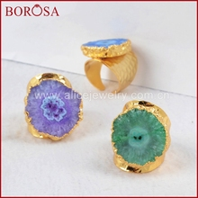 BOROSA 5PCS Gold Electroplated Colorful Flower Solar Quartz Ring,Fashion Adjustable Drusy Ring Jewelry Statement Ring G0308(China)